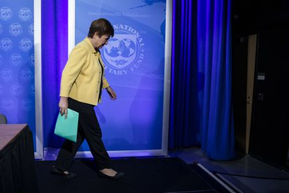 Kristalina Georgieva after a press conference in Washington in March.