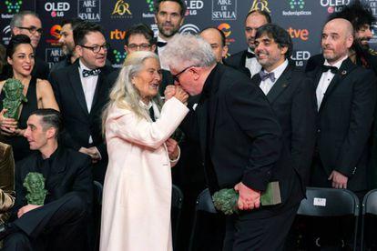 Actress Benedicta Sánchez is congratulated by Pedro Almodóvar.