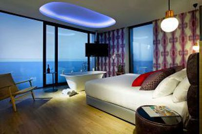 A room with a sea view at the Hard Rock in Ibiza.