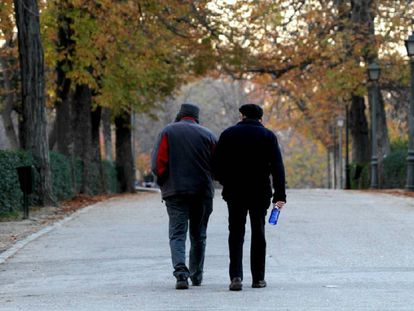 Two seniors in Madrid's Retiro Park.