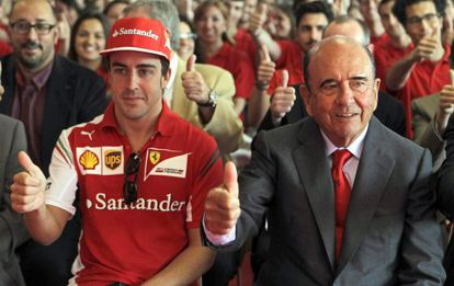 Emilio Botín with F1 racing driver Fernando Alonso in May.