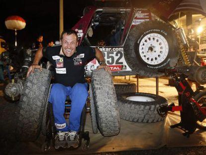 Albert Llovera and his Dakar Rally car.