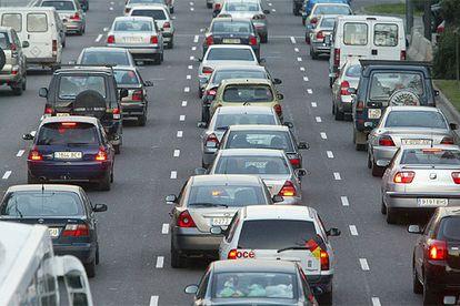 Traffic on the A-3 motorway in Spain.