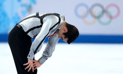 Javier Fernández of Spain reacts after he competes during the Figure Skating Men' s Free Skating on day seven of the Sochi 2014 Winter Olympics.