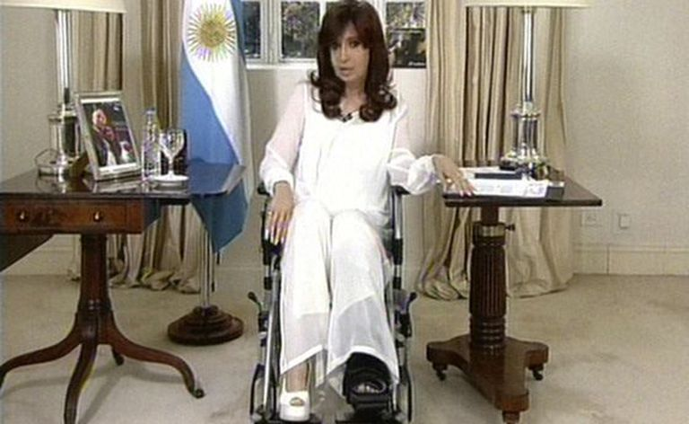 President Cristina Fernández de Kirchner during Monday night's broadcast.