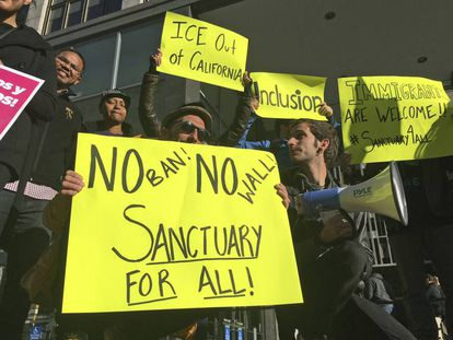 Protesters against Trump's immigration policies in San Francisco on Friday.