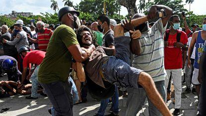 University student Leonardo Romero Negrín is detained in Havana on July 11.