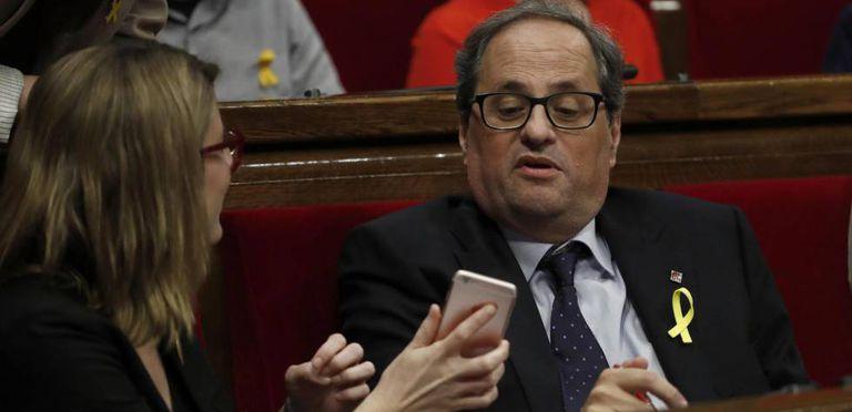 Quim Torra inside the Catalan parliament.