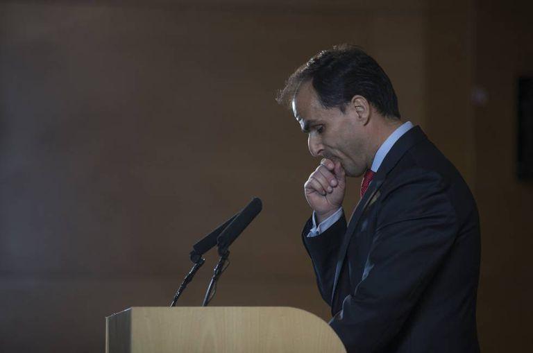 King Juan Carlos University head Javier Ramos at a Friday press conference.