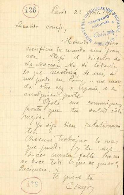 A letter written by Darío to Francisca Sánchez.