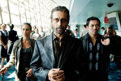 Jordi Mollà (c) playing a drug lord in 'Colombiana.'