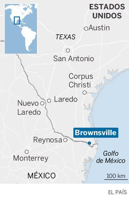Map of Mexico US border pointing out Brownsville's location