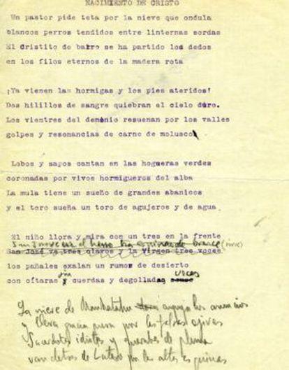 Handwritten notes made by Lorca.