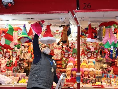 A stall at a Christmas market in Madrid's Plaza Mayor square.