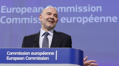EU finance commissioner Pierre Moscovici at a press conference on Wednesday.