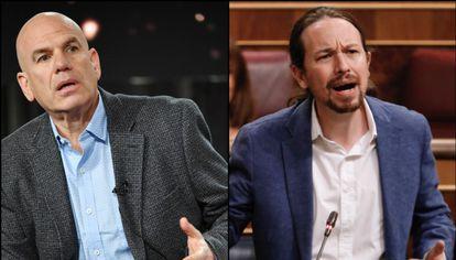 'The Wire' creator David Simon (l) and Spanish Deputy Prime Minister Pablo Iglesias.