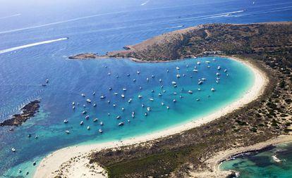 Panorama of the S'Alga beach, in Formentera.