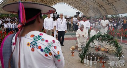 Mexican President Andrés Manuel López Obrador at a ceremony in Chiapas to ask for permission from 12 local Mayan indigenous communities to construct the Maya Train project.
