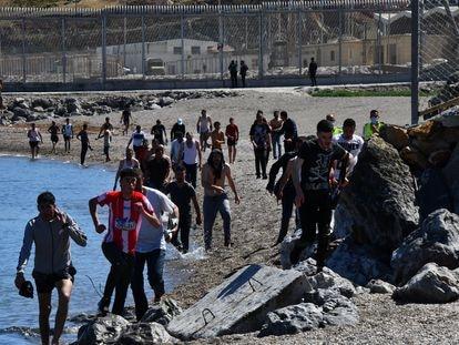 Undocumented migrants in Ceuta.