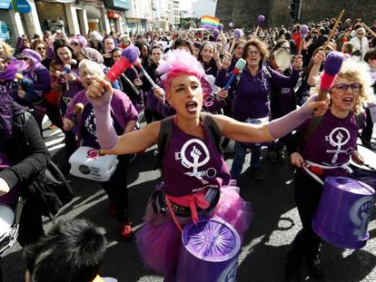 Feminists in Galicia last weekend during a warm-up event for today's strike.