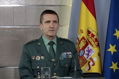 José Manuel Santiago, the chief of staff of the Civil Guard, at the government's press conference on the coronavirus crisis.