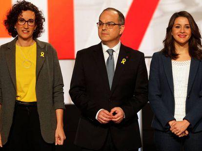 Marta Rovira of ERC, Jordi Turull of PDeCAT and Inés Arrimadas of Ciudadanos.