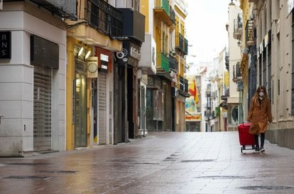 The normally busy Sierpes street in Seville, in southern Spain. on Monday.