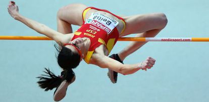 Ruth Beitia of Spain on her way to gold in the women's high jump in Gothenburg.