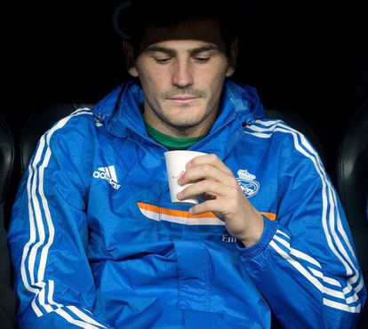 Casillas on the Real bench during the Madrid derby in September.