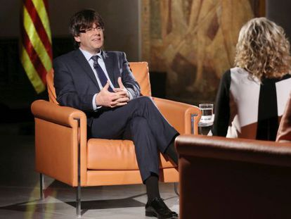 Carles Puigdemont during the interview.