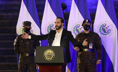 Nayib Bukele oversees a military induction ceremony in San Salvador on June 19.