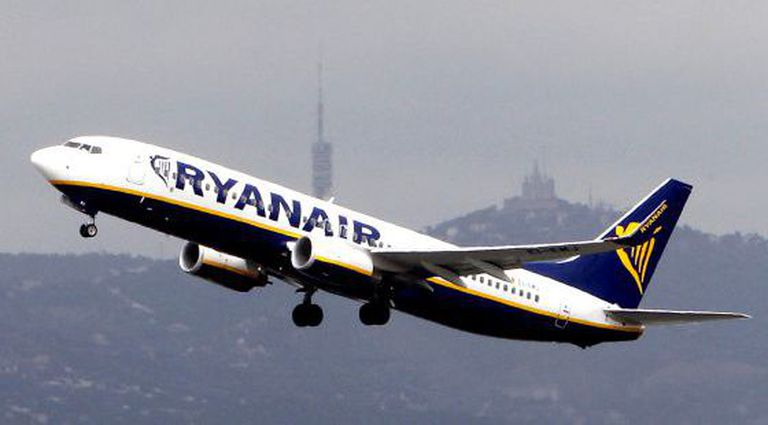 A Ryanair flight takes off from El Prat airport in Barcelona.