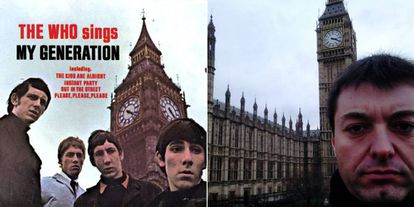 A record cover from The Who (l), and Manuel Labrado's own version of the photo.