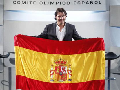 Nadal at the announcement that he would be Spain's flag-bearer.