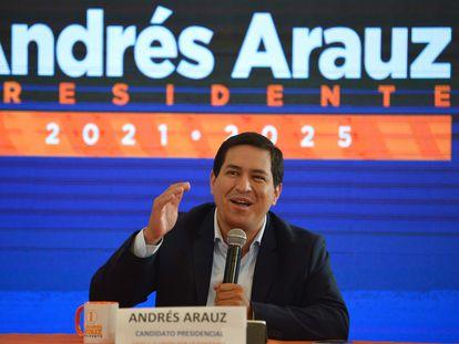 Ecuadorian presidential candidate Andres Arauz speaks in Quito, Ecuador, on February 9.