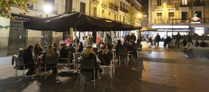 One of the many terrace bars open till late in Madrid's Chueca neighborhood.